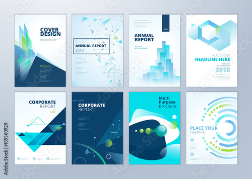 Set Of Brochure, Annual Report, Flyer Design Templates In A4 Size. Vector Illustrations For