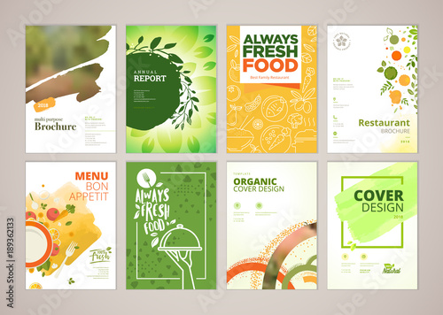 Set of restaurant menu, brochure, flyer design templates in A4 size. Vector illustrations for food and drink marketing material, ads, natural products presentation templates, cover design. - 189362133