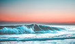 canvas print picture - wave at sunset