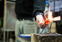 Artisan Making Glass Vases And...
