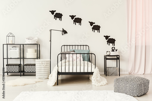 Obraz Teenager's bedroom with sheep stickers - fototapety do salonu