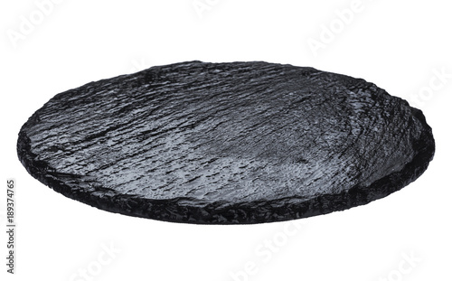Plate made of natural black slate isolated on white background