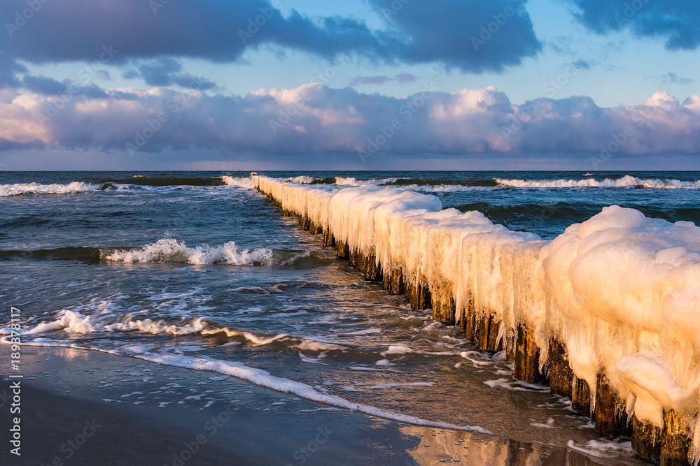 Fototapety, obrazy: Buhne an der Ostseeküste in Zingst im Winter