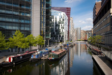Rows Of Houseboats And Narrow Boats On The Canal Banks At Paddington Basin In Little Venice, London - England, UK