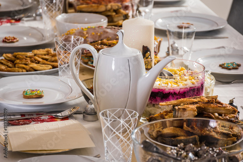 Cadres-photo bureau Pays d Europe A romantic and luxury table set with a lot of healthy food and drinks for a family party or gathering
