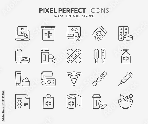 Photo  pharmacy thin line icons