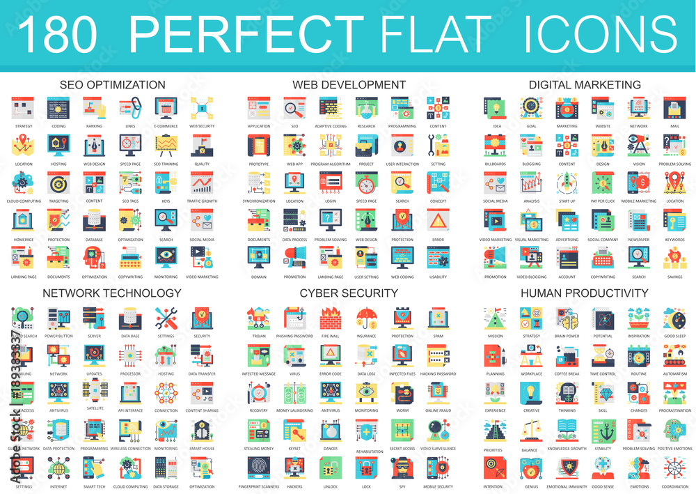 Fototapety, obrazy: 180 vector complex flat icons concept symbols of seo optimization, web development, digital marketing, network technology, cyber security, human productivity. Web infographic icon design.