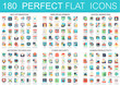 180 vector complex flat icons concept symbols of seo optimization, web development, digital marketing, network technology, cyber security, human productivity. Web infographic icon design.