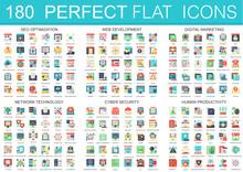 180 Vector Complex Flat Icons Concept Symbols Of Seo Optimization, Web Development, Digital Marketing, Network Technology, Cyber Security, Human Productivity. Web Infographic Icon Design.