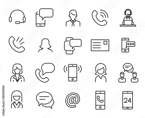Tablou Canvas Simple collection of personal service related line icons.