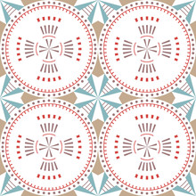 Abstract Seamless Pattern Of Various Geometric Shapes.