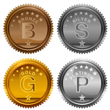 Bronze Silver Gold Platinum Aw...