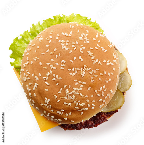 fresh cheeseburger isolated on white