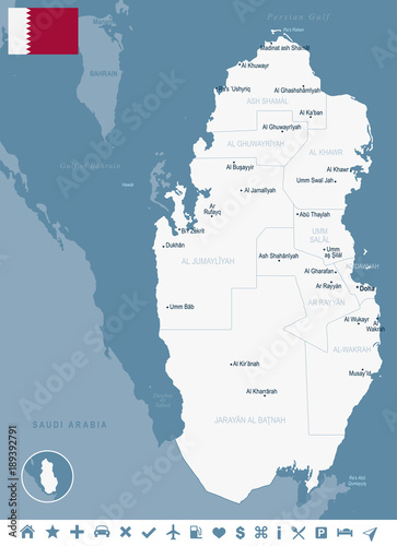 Qatar - map and flag Detailed Vector Illustration - Buy this stock ...
