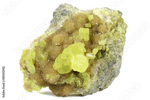 Photo native sulphur on barite from Tarnobrzeg/ Poland isolated on white background
