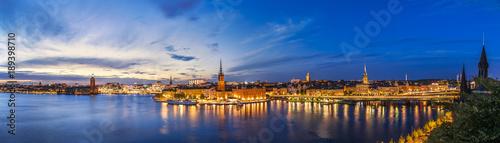 Photo  Sunset panorama of Stockholm