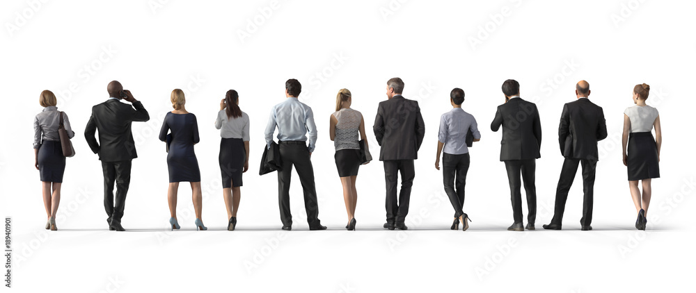 Fototapeta Back view of standing business people. Illustration on white background, 3d rendering isolated.