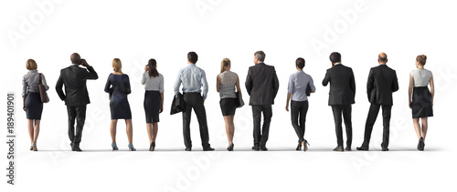 Obraz Back view of standing business people. Illustration on white background, 3d rendering isolated. - fototapety do salonu