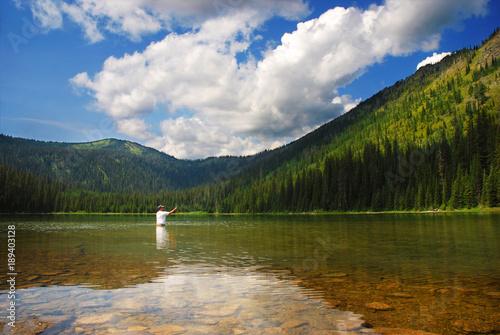Fototapeta Mountain Lake Fisherman obraz