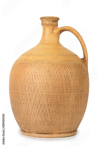 Large ceramic amphora with handle isolated on white background. Wallpaper Mural