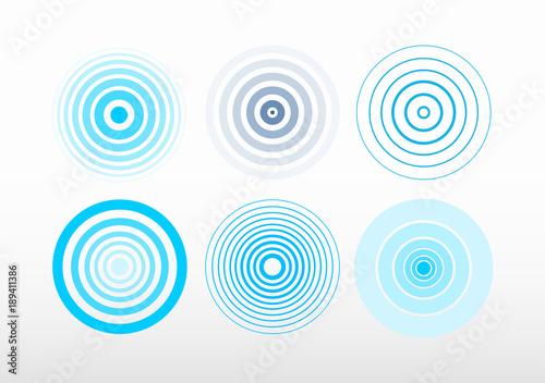 Set of radar screen concentric circle Wallpaper Mural