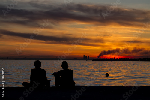 Foto auf AluDibond Pier view of istanbul Turkey , sunset and spectacular istanbul colors,sky colors