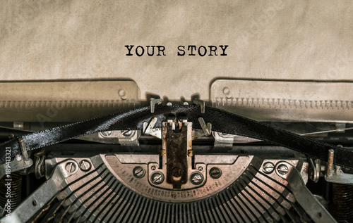 Fotomural  your story, the text is written with old typewriter, close-up