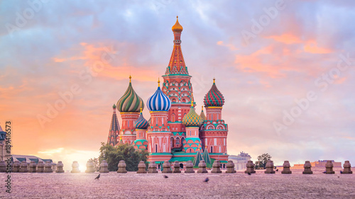 Poster Moscow Basil's cathedral at Red square in Moscow
