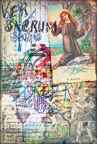 Poster Imagination Manoscritti,disegni,scrapbooks e collage con simboli esoterici,astrologici e alchemici