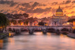 Leinwandbild Motiv Sunset at The Papal Basilica of Saint Peter