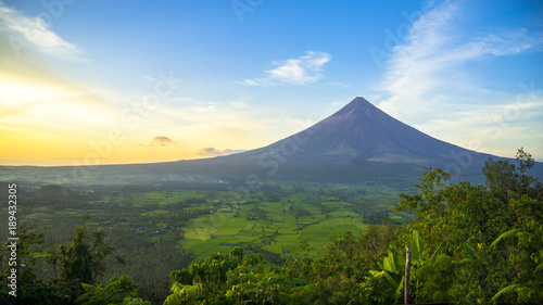 Mount Mayon Volcano With Perfect Cone - Sunrise in Albay, Luzon - Philippines