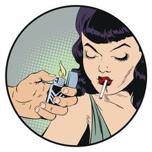 Girl Is Smoking Cigarette. Sto...