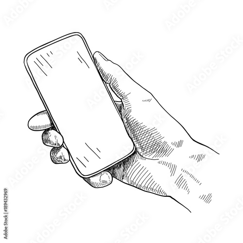 Hand holding mobile phone, sketch vector illustration Wall mural