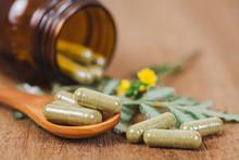 Herbal Medicine Capsules Spill...