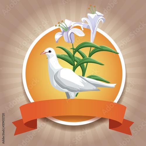 Christianity round icons with ribbon icon vector illustration graphic design Obraz na płótnie