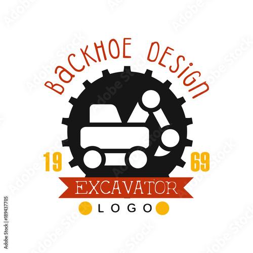 Fotografia  Backhoe design, estd 1989, excavator logo vector Illustration