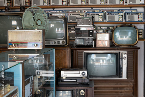 Old vintage different radios, television and electronic in