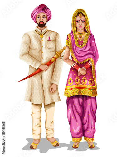 Fényképezés  Punjabi wedding couple in traditional costume of Punjab, India