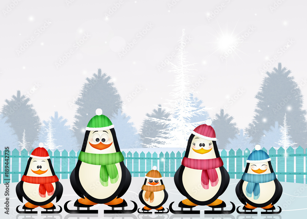 penguins skating on ice in winter