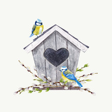 Watercolor Vector Birdhouse Wi...
