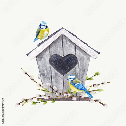 Watercolor vector birdhouse with birds Canvas Print