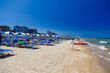 Beautiful summer beach of Pesaro city on the adriatic sea. Marche, Italy.
