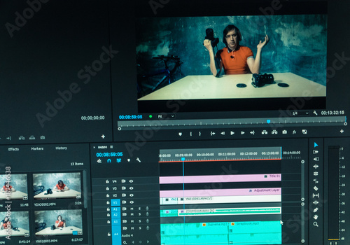 Valokuva  Video editing. Video editing for a video blog