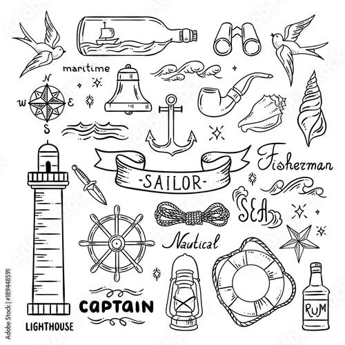 Fotografia Sailor vector set. Sea and ocean theme hand drawn graphics