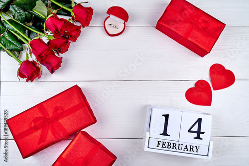 Valentines Day Background With Red Roses Gift Boxes Two Hearts