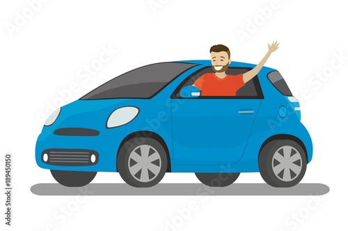 Spoed Foto op Canvas Cartoon cars Happy cartoon caucasian male rides in blue car