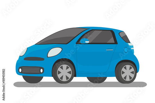 Staande foto Cartoon cars Modern cartoon blue compact car