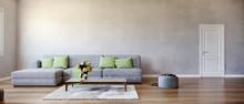 Modern Design Interior Living Room, Yellow Flowers