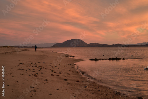 Spoed Foto op Canvas Zee zonsondergang solitude of a walk along a beach at dawn in Baja, Mexico