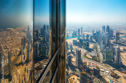Skyscrapers on Sheikh Zayed Road in Dubai, UAE. View of Downtown Dubai from the observation desk of Burj Khalifa.